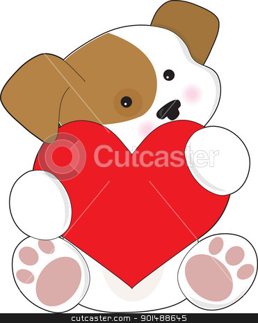 Cute Puppy Valentine stock vector clipart, A cute brown and white puppy, is holding a red heart that is half as big as the puppy. by Maria Bell