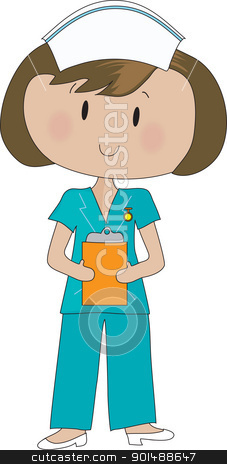 Nurse Scrubs stock vector clipart, A neat and tidy nurse in green scrubs, is holding her clipboard. by Maria Bell