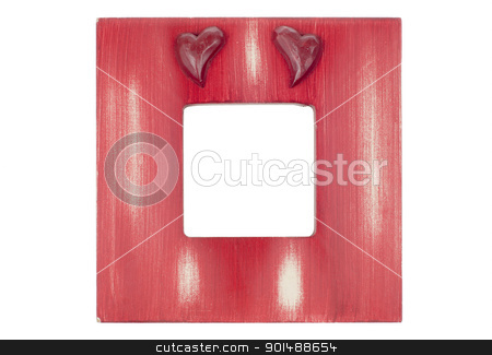 Red wooden picture frame with hearts stock photo, Red wooden picture frame with hearts isolated on white background. by Homydesign