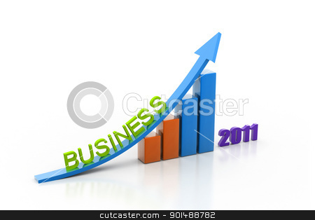 business growth of year in white background stock photo, business growth of year in white background by dileep