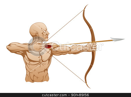 Strong archer with bow and arrow stock vector clipart, Illustration of strong archer holding bow and arrow ready to release by Christos Georghiou