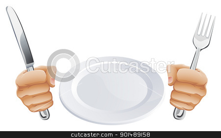 Plate and hands holding cutlery stock vector clipart, Empty plate and hands holding knife and fork cutlery  by Christos Georghiou
