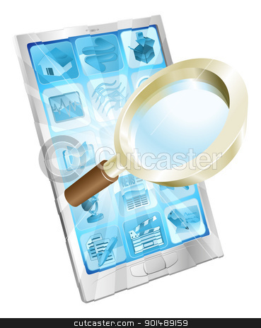 Magnifying glass search icon  phone concept stock vector clipart, Magnifying glass search icon coming out of phone screen concept  by Christos Georghiou