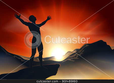 Man on mountaintop with arms out stock vector clipart, Illustration of a man on a mountain or cliff top with arms out at sunrise or sunset with light sunburst by Christos Georghiou
