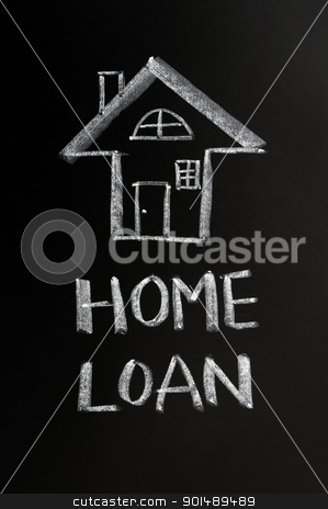 Home loan stock photo, Home loan concept drawn in chalk on a blackboard by John Young