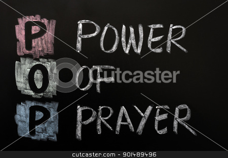 Acronym of POP - Power of prayer stock photo, Acronym of POP - Power of prayer written on a blackboard by John Young