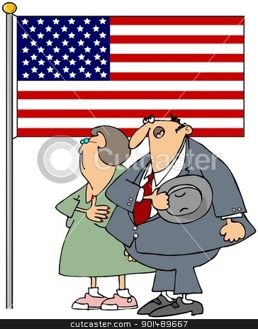 Couple Pledging Allegiance stock photo, This illustration depicts a man & woman pledging allegiance to the American flag. by Dennis Cox