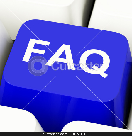 FAQ Computer Key In Blue Showing Information And Answers stock photo, FAQ Computer Key In Blue Showing Information And Answer by stuartmiles