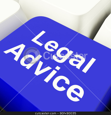 Legal Advice Computer Key In Blue Showing Attorney Guidance stock photo, Legal Advice Computer Key In Blue Showing Lawyer Guidance by stuartmiles