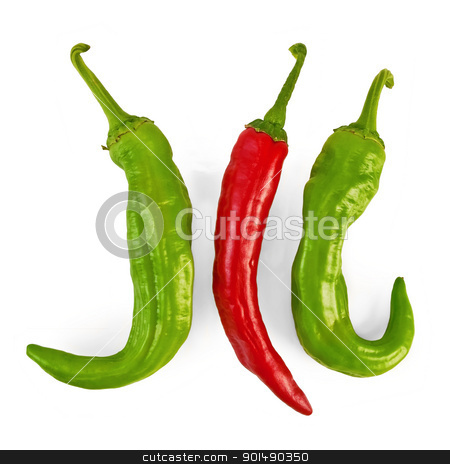 Three hot peppers stock photo, Three sharp red and green pepper isolated on white background by rezkrr