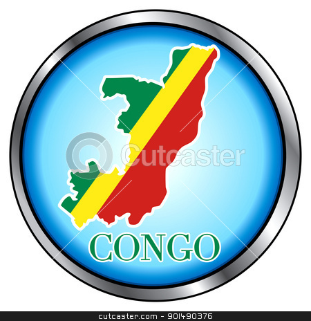 Congo Rep Round Button stock vector clipart, Vector Illustration for Congo, Round Button. by Basheera Hassanali