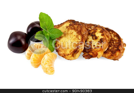 Toast with mandarin, mint and plums stock photo, Three golden fried toast, two plums, three slices of mandarin, mint sprig isolated on white background by rezkrr