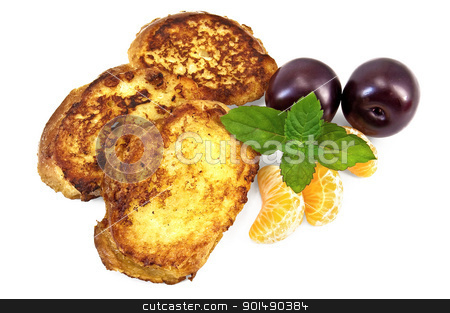 Toast with tangerine and plum stock photo, Three golden fried toast, two plums, three segments of mandarin, mint sprig isolated on a white background by rezkrr