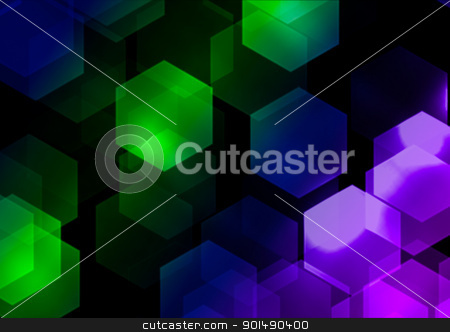 Abstract Background stock photo, Abstract Background - Multicolor Hexagonal Bokeh on Black Background by JAMDesign