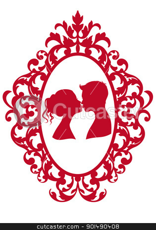 kissing couple in frame, vector stock vector clipart, kissing couple in antique picture frame, vector background by Beata Kraus