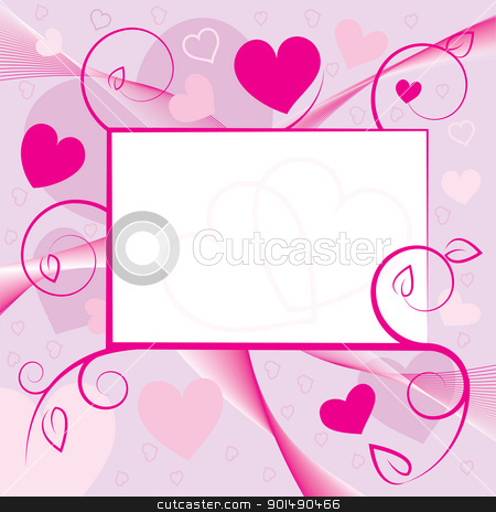 Valentine greeting card stock vector clipart, Valentine greeting card with hearts and swirls. Vector illustration. by antkevyv