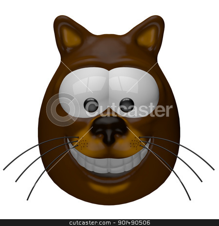 smiling cat stock photo, funny cartoon cat - 3d illustration by J?