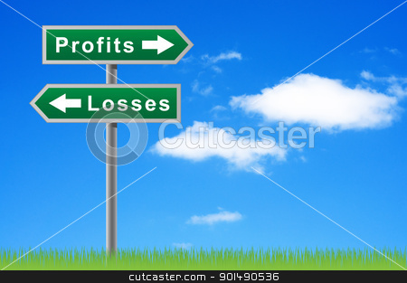 Arrows road sign profits losses on sky background. stock photo, Arrows road sign profits losses on sky background. by Borys Shevchuk