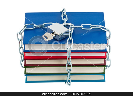 Books in chains closed padlock with key isolated. stock photo, Books in chains closed padlock with key isolated. by Borys Shevchuk