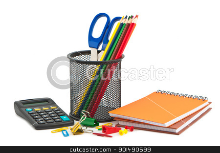 Different set of stationery items on white background. stock photo, Different set of stationery items on white background. by Borys Shevchuk