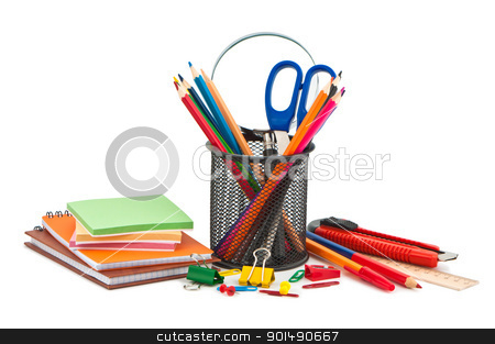 Miscellaneous office supplies on white background. stock photo, Miscellaneous office supplies on white background. by Borys Shevchuk