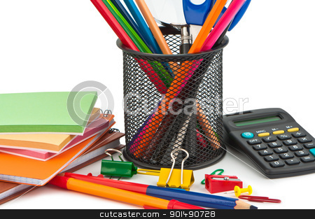 Set of stationery items on white background. stock photo, Set of stationery items on white background. by Borys Shevchuk