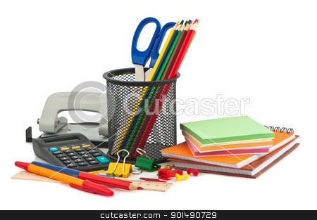 Set of stationery items. stock photo, Set of stationery items. by Borys Shevchuk
