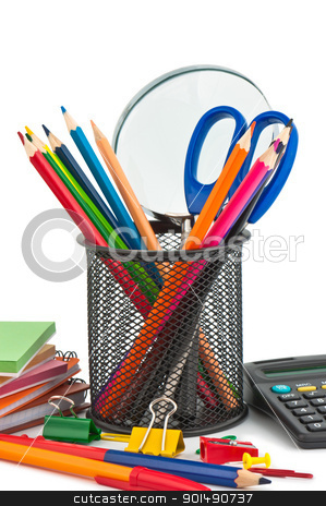 Stationary appliances for office, school and home. stock photo, Stationary appliances for office, school and home. by Borys Shevchuk