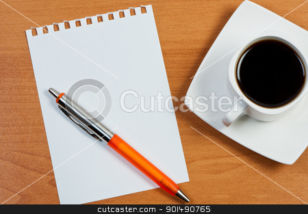 Worksheet with pen and coffee on table. stock photo, Worksheet with pen and coffee on table. by Borys Shevchuk
