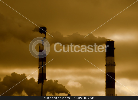 Pollution concept stock photo, Heavy smoke from industrial chimney by johnnychaos