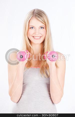 woman doing fitness exercises stock photo, Young blond hair woman doing fitness exercises by iMarin