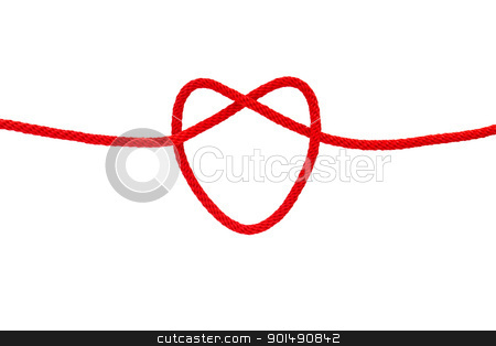 Heart shape from red rope stock photo, Heart shape from red rope isolated on white by stoonn