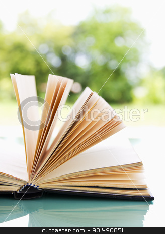 Open book over a light nature  stock photo, Open book over a light nature background by stoonn
