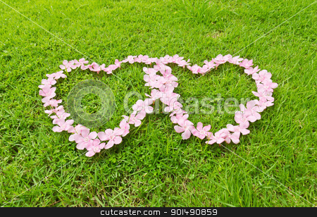 Pink flower love heart stock photo, Pink flower love heart frame isolated on Green grass background by stoonn