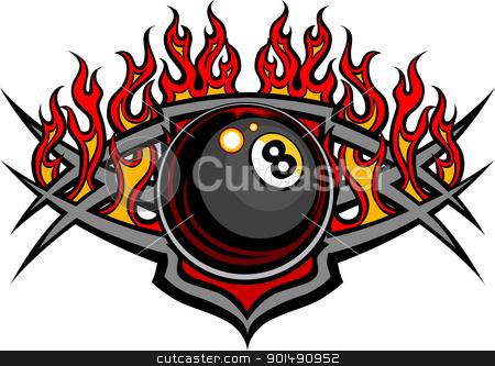 Billiards Eight Ball Flaming Vector Design Template stock vector clipart, Flaming Billiards Eight Ball Vector Template burning with Fire Flames by chromaco