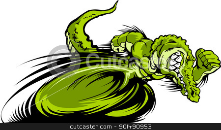 Racing Gator or Croc Mascot Graphic Vector Image  stock vector clipart, Speeding Aligator or Crocodile Running with hands Mascot  Vector Illustration by chromaco