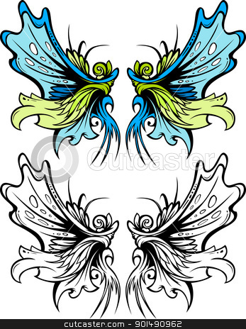 Fairy Wings Graphic Vector Set stock vector clipart, Graphic Vector Images of Butterfly or Fairy Wings by chromaco