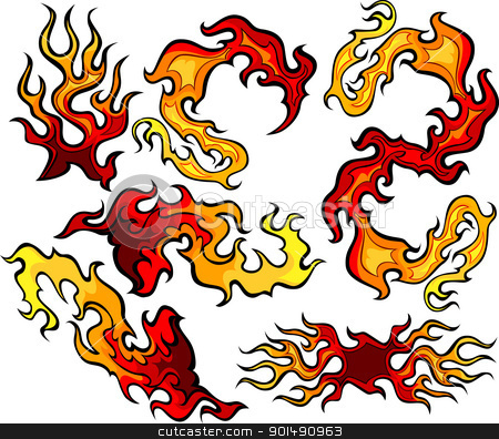 Fire and Flames Vector Icon Ilustrations stock vector clipart, Vector Images of Swirling Fire and Flames Images by chromaco