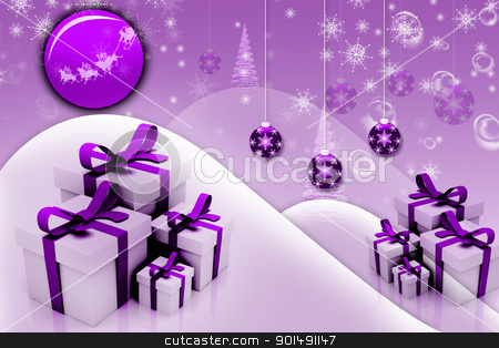 Digital illustration of abstract Winter background with gift box   stock photo, Digital illustration of abstract Winter background with gift box   by dileep