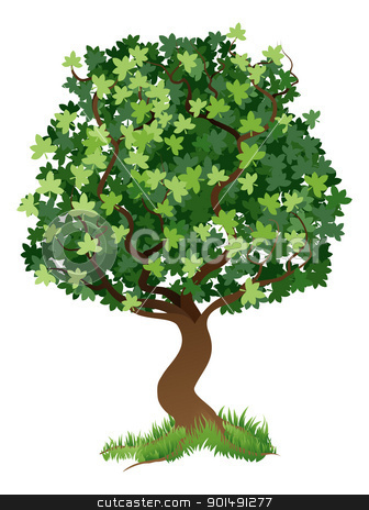Tree illustration stock vector clipart, An illustration of a stylised tree with grass around its roots  by Christos Georghiou