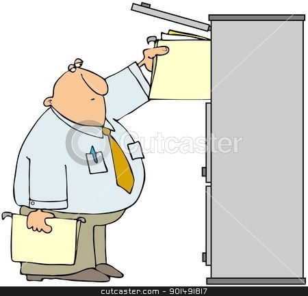 File Manager stock photo, This illustration depicts a man putting folders into a file cabinet. by Dennis Cox