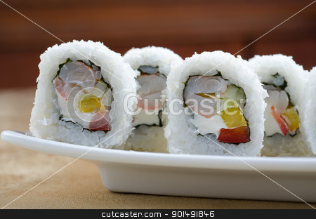 shrimp sushi roll stock photo, sushi roll of shrimp, cucumber, pepper and sauce, closeup by olinchuk