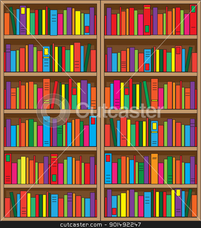 Bookshelf stock vector clipart, A large, double case bookshelf, filled with volumes of multi colored books. by Maria Bell