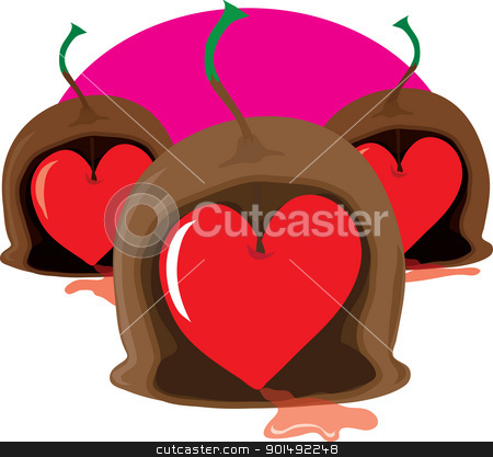 Chocolate Cherry Heart stock vector clipart, Three stylized maraschino cherry chocolates with stems, have been cut open to reveal Valentine, heart shaped, cherry centers. by Maria Bell