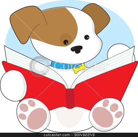Cute Puppy Reading stock vector clipart, A cute puppy wearing a blue collar with bone attached, is sitting and reading from a big red book. by Maria Bell