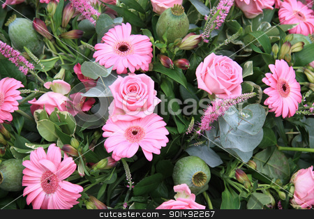 Mixed pink floral arrangement stock photo, Flower arrangement with different pink flowers, like roses and gerberas by Porto Sabbia
