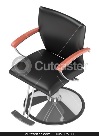 Black hairdressing salon chair stock photo, Black hairdressing salon chair isolated on white background by Nmorozova