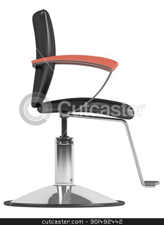 Black hairdressing salon chair stock photo, Black hairdressing salon chair isolated on white background by Nmorozova