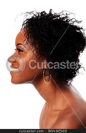 Happy Beauty face from side stock photo, Side profile of a beautiful African woman face with Afro curly hair smiling showing white teeth, isolated. by Paul Hakimata