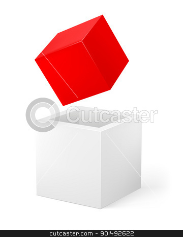 Red and white cube stock photo, Red and white cube. Illustration of the designer on a white background by dvarg